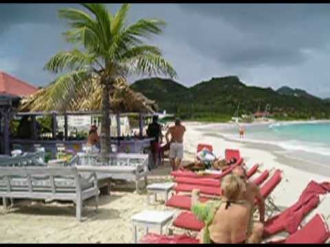 Private plane landing over beach - St.Barts  (Caribbean)