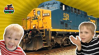 Freight Trains! Eric & Cody visit the Strawberry Festival and find trains! TrainLab toy train videos