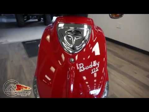 2020 Genuine Scooter Co Buddy 125 in Red at Maxeys Motorsports in Oklahoma City
