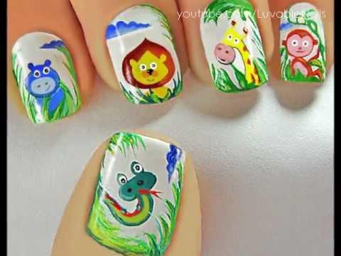 Jolly Jungle Friends nail art