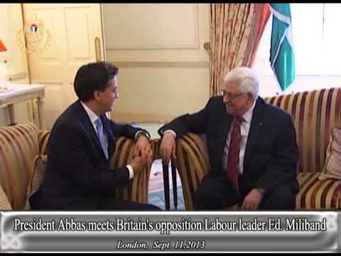 President Abbas meets Britain's opposition Labour leader Ed  Miliband