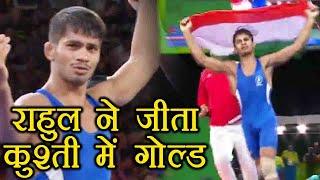 Commonwealth Games 2018 : Rahul Aware wins gold in men's Freestyle 57kg wrestling | वनइंडिया हिंदी