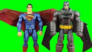 Electro-Armor Batman Battles Heat Vision Superman With Action Wings Lights Sounds And Phrases