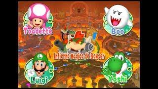 [Mario Party 7] Toadette, Boo, Luigi y Yoshi en Infierno mágico de Bowser