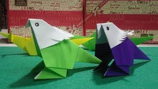 앵무새 색종이 접기 Colored paper - origami - cute parrot doll