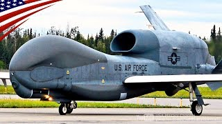 RQ-4 Global Hawk Spy Drone Land/Taxi/Maint In Alaska For First Time