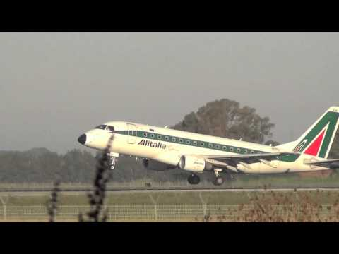 Alitalia Express EMB 170 Landing - Rome Fiumicino ( Leonardo da Vinci) (FCO / LIRF) EI-DFH - RWY 16L