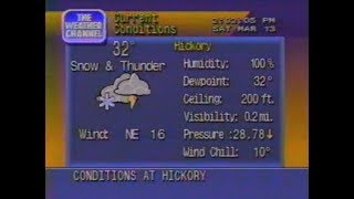 Superstorm March 13, 1993 Weather Channel clips from Hickory, NC