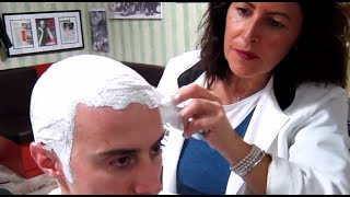 💈 Old school Barber Girl - Head shave with massage and hot towel - ASMR sounds