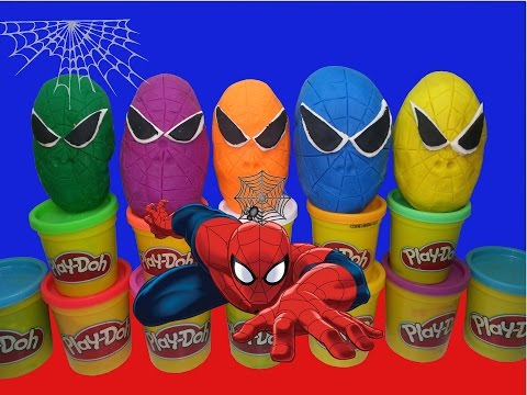 Play Doh Spiderman Toys Surprise Eggs