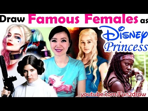 New art challenge: Drawing Top Female Characters as DISNEY PRINCESSES! | Mei Yu