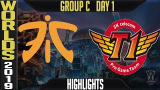 FNC vs SKT Highlights Game 1 | Worlds 2019 Group C Day 1 | Fnatic vs SK Telecom T1