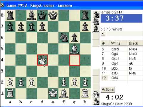 Chessworld.net : Blitz #284 vs. iamzero (2144) - Four knights: Schultze-Mueller gambit (C47)