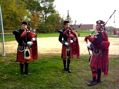 10/24/2010 Governor Livingston High School Highlander Band Bagpipers Warming Up