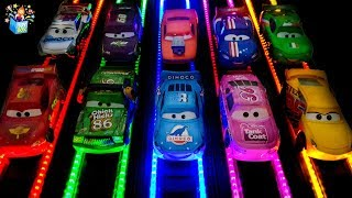 Learning Color Disney Cars Lightning McQueen Tayo Garage Light Load Race play video for kids