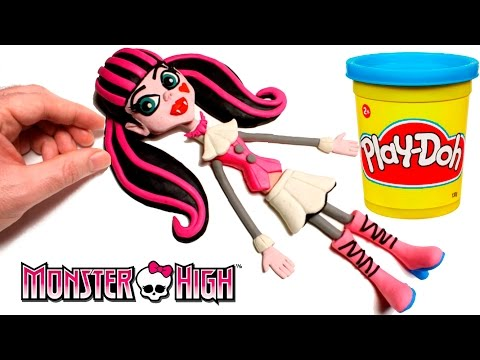 Stop Motion Play Doh Monster High Draculaura Doll claymation plastilina playdo