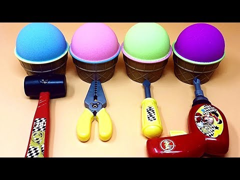 Ice Cream Kinetic Sand & Tools Toys Fun Surprise Eggs Inside Learn English Colors for Kids