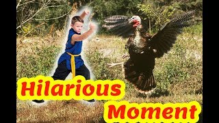 Fighting Kung Fu With a Turkey ( Dinde) ( in morocco )