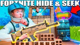 FORTNITE NERF HIDE AND SEEK CHALLENGE 📦⛏ In The Worlds Biggest Box Fort!!