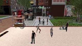 AJ busking in London City (Second Life)