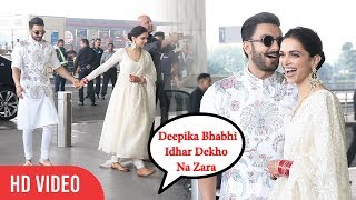 Media Shouts Deepika As BHABHI 😂😍😂 | Ranveer And Deepika Padukone At Mumbai Airport
