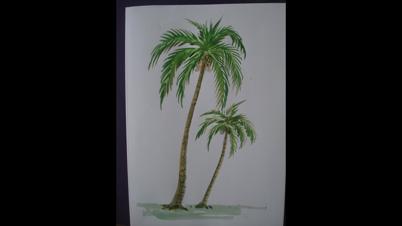 How to draw tree painting with using water colour youtube for How to paint a tree