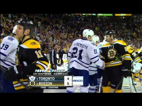 Patrice Bergeron OT goal 5-4, handshakes. May 13 2013 Toronto Maple Leafs vs Boston Bruins NHL