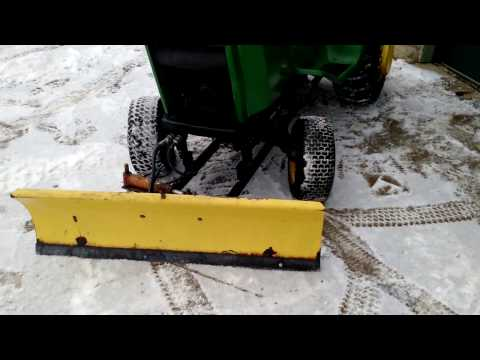 Homemade Snow Plow for lawnmower. John Deere 318