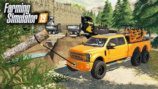 FS19- WINCHING TREES WITH MY $120,000 TRUCK | OVERKILL F-550 FROM ROLLIN COAL CUSTOMS