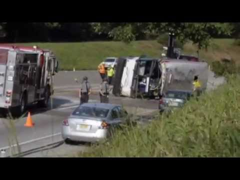 Greyhound bus overturns on PA Turnpike, injures 20