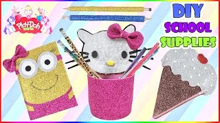 How To Make DIY Foam School Supplies | Sparkly Notebook Cover | Hello Kitty Pencile Box