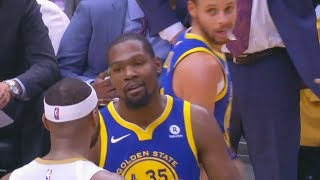 Kevin Durant ALMOST KNOCKED OUT BY DEMARCUS COUSINS! Stephen Curry Ankle Injury!
