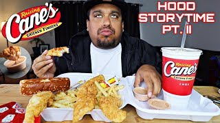 Raising Cane's Mukbang | Fried Chicken Fingers, Crinkle Cut Fries, Texas Toast & Tea | STORYTIME