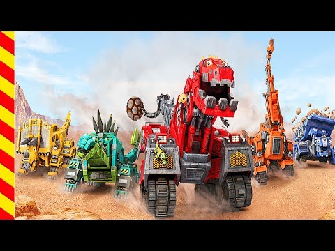 Динозавры мультик Роботы строительная техника Динотракс. Экскаватор трактор грузовик мультик Роботы