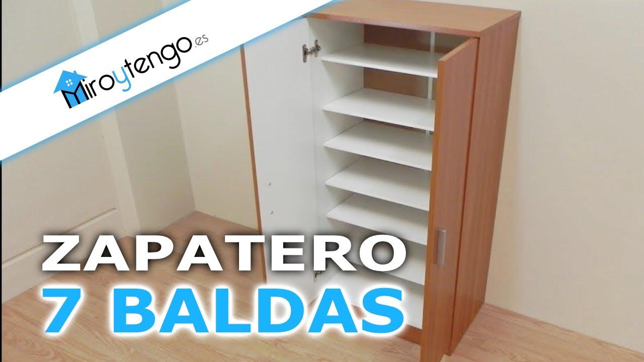 Zapatero armario de gran capacidad economico con 7 baldas for Zapatero color cerezo
