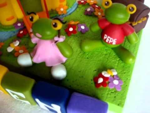 Sapo Pepe y Pepa adorno para torta Souvenirs IVANARTE - YouTube