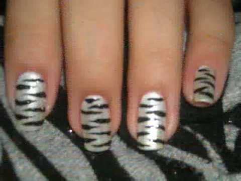 Nail Design Tutorial: Zebra Print Nails. Nail Design Tutorial: Zebra Print