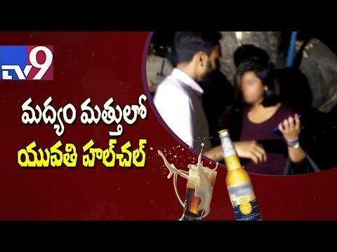 Drunk lady driver refuses breathalyser test - TV9