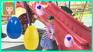 Huge Playground Surprise Eggs + Hatchimals Toy Unboxing | Outdoor Fun for Kids | Peanut's World