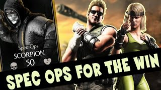 Spec Ops Scorpion, Klassic Sonya and Undead Hunter Johnny Cage TEAM in MKX Mobile 1.11