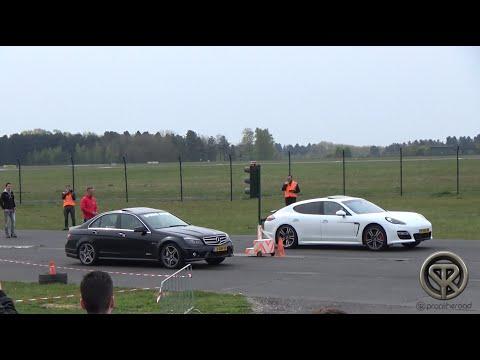 DRAG RACE: Mercedes C63 AMG VS Porsche Panamera!