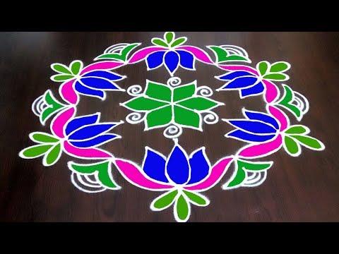 Latest Colourful Lotus Rangoli Design  9 X 5 ||  Colours Kolam Design || Fashion World