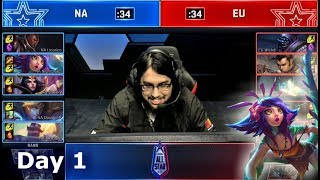 NA vs EU - Pro's and Influencers Show Match   2018 LoL All Star Event Day 1