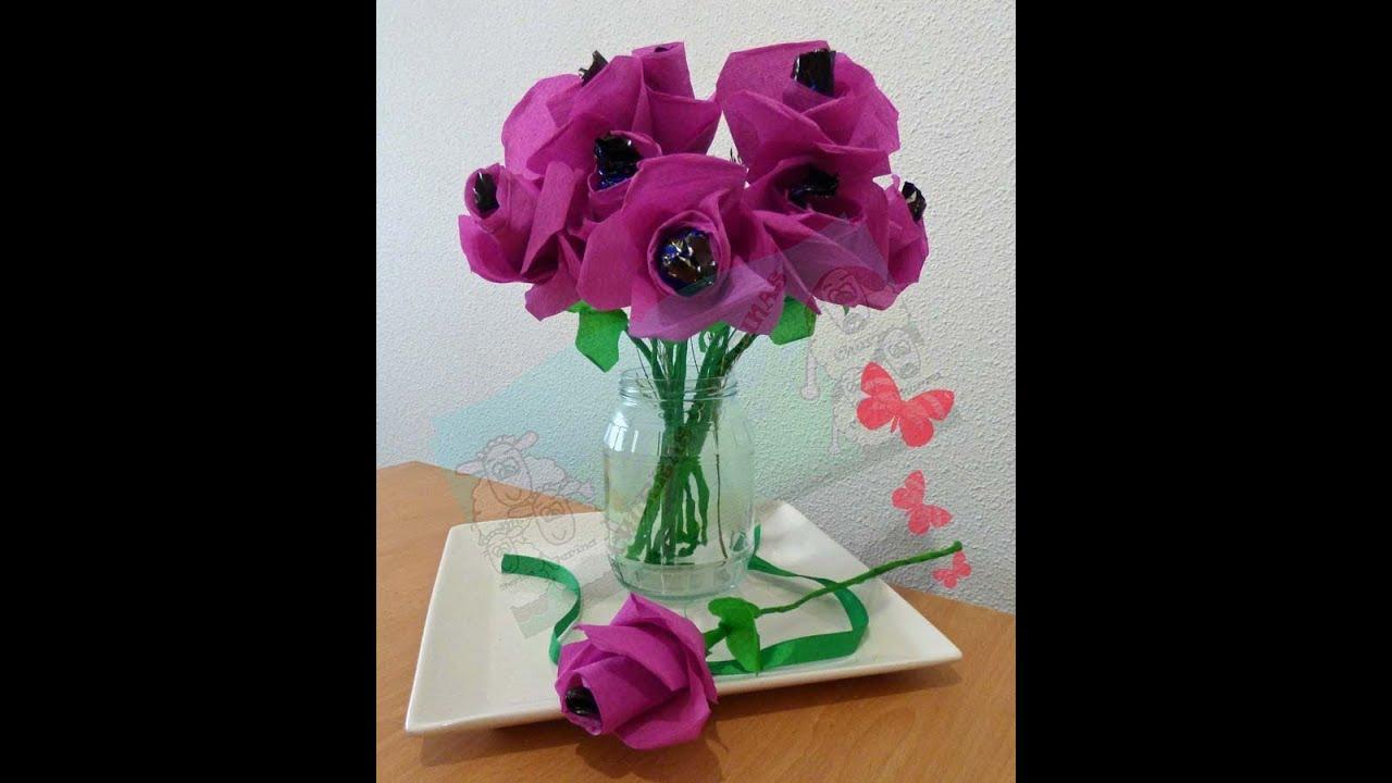 Como hacer flores de papel crepe con coraz n de bomb n diy - Como hacer flores ...