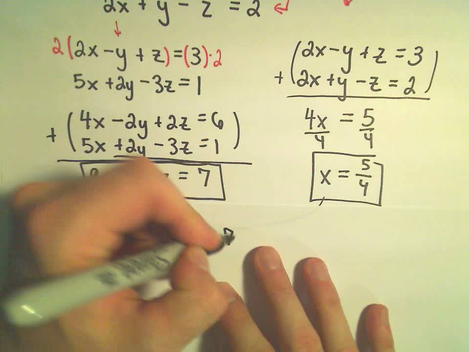 Solving A System Of Equations Involving 3 Variables Using