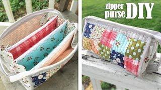 DIY TRIPLE ZIPPER POUCH BAG CUY & SEW // Popular Design Purse Bag Summer 2019