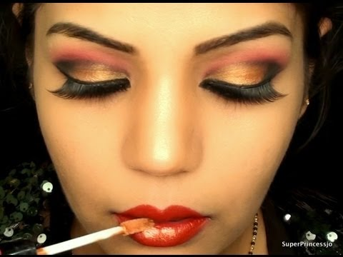 Bollywood Makeup:indian Bridal Wedding Makeup Tutorial, Sexy & Glamorous Red And Gold Eye Makeup video