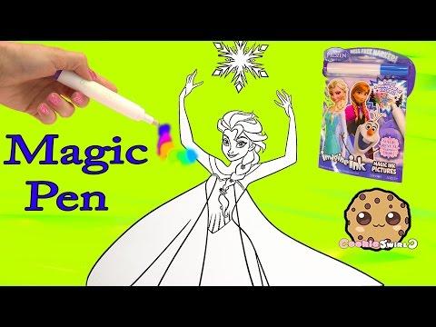 Disney Frozen Imagine Ink  Rainbow Color Pen Art Book with Surprise Pictures Cookieswirlc Video