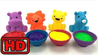Kid -Kids -Learn Colors With Squeaky ZOO Animal Bath Toys And Paint/Finger Family Nursery Rhyme/Toy