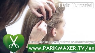 How to assemble easy flower on volume laying. parikmaxer tv USA